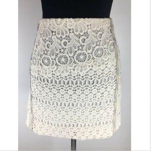MAJE Women's Lace Skirt Size EU 40 Goat Leather